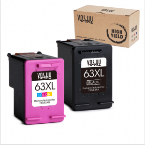 Voshy Re-Manufactured Ink Cartridges Replacement for HP 63XL 63 XL (Black and Tri-Color, 2-Pack)
