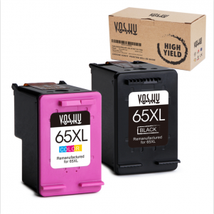 Voshy Remanufactured Ink Cartridge Replacement for HP 65XL 65 XL Ink Cartridge (Black + Tri-color, 2-Pack), work with for HP DeskJet 3755 2655 3752 2652 2624, HP Envy 5055, HP AMP 100 Printer